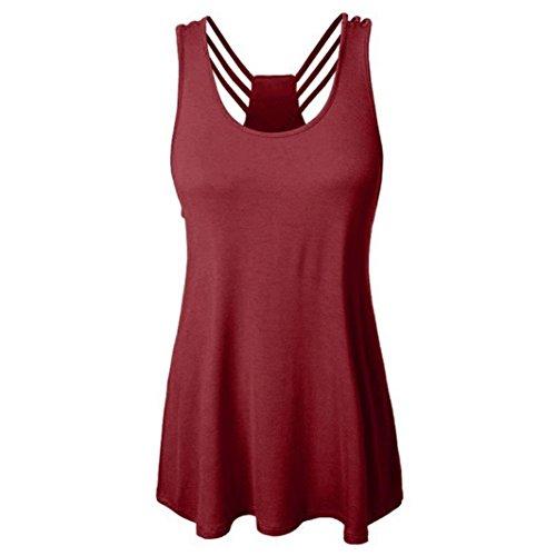 ESAILQ Damen T-Shirt Ladies Long Back Shaped Spray Dye Tee(S,Wein)
