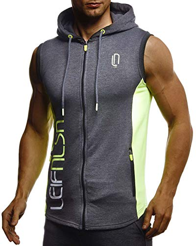 LEIF NELSON Gym Herren Fitness Sport-Jacke ohne Ärmel Top Trainingsshirt Slim Fit | Männer Bodybuilder Training Funktionsshirt | Bekleidung für Bodybuilding Hoodie | LN8289 Anthrazit-Gelb Large -