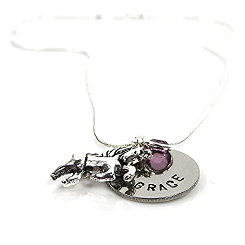 Childs Personalised Name Necklace with Unicorn and Birthstone - Gift Boxed – Free Delivery