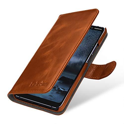 keledes Custodia Compatibile con Nokia 9 PureView in Vera Pelle, Cover Custodia Portafoglio Flip a Libro con Supporto Stand & Magnetica e Slot Schede per Nokia 9 PureView, Cognac Marrone