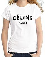 Celine Paris Femmes Femmes DaHommes Manche Courte Blanc T Shirt