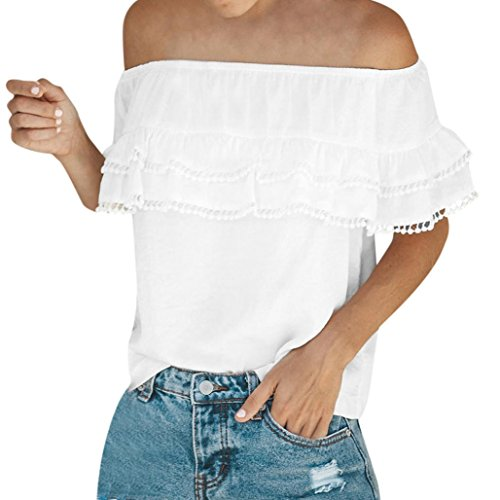 Kobay Womens Sexy Solid Strapless Off Shoulder T-Shirt Tops, Ladies' Layered Chiffon Blouse Tank Tops