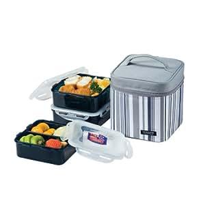 Lock & Lock Brotzeitbox Picnic Lunch Box Bento Set - HPL823DG, Gray (Small)
