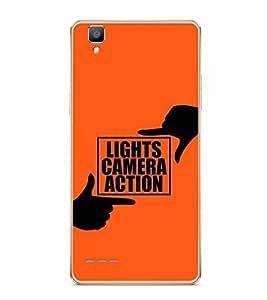 PrintVisa Designer Back Case Cover for Oppo F1 :: A35 (Lights Camera Action Orange Background)