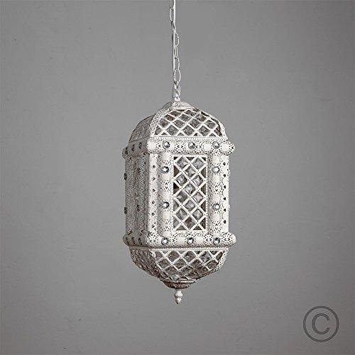 Lampadario a sospensione in stile marocchino, etnico, Maghreb e rustico, finitura con effetto bianco rustico/bianco antico, decorato con gioielli chiari