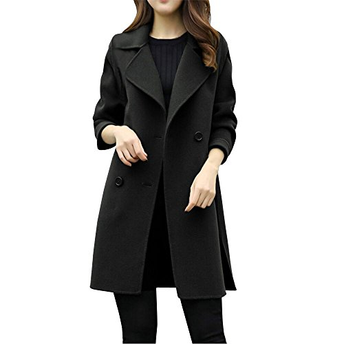 FIRSS Damen Double Breasted Trenchcoat Schlank Steppmantel Parka Wollmantel Revers Strick Lange Dicker warme Dufflecoat Elegante Cardigan Mantel Breasted Hooded Trench