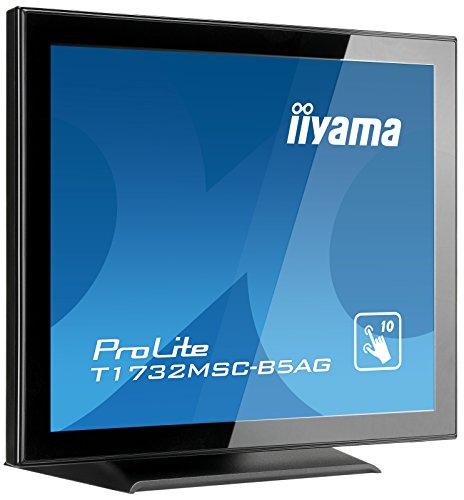 iiyama Prolite T1732MSC-B5AG 43cm (17 Zoll) LED-Monitor SXGA 10 Punkt Multitouch kapazitiv (VGA, HDMI, DisplayPort, USB für Touch, IP54, AntiGlare Beschichtung) schwarz