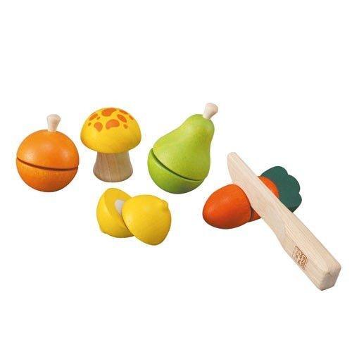 Imagen principal de Plan Toys - Juegos Educativos - Juego de frutas y verduras da corte de madera