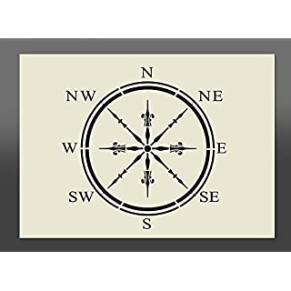 Compass Shabby Chic Mylar Stencil A4 297x210mm Wall Art, Furniture Stencil, Fabric Stencil