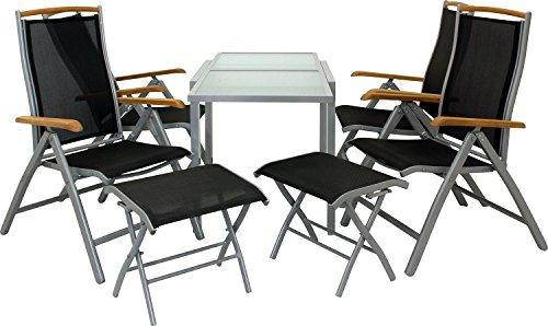 IB-Style - DIPLOMAT-Quadro S | salon de Jardin | 5 Variantes | Alu noir ou argenté / Textile / bois teck | Table à rallonge | Meuble de jardin Table Chaises | 65 - 130 cm table avec 4 chaises et 2 tabouretes de pid pliable argenté