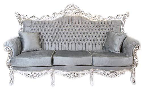 Casa Padrino Barock 3er Sofa Master Grau/Silber Mod1 - Wohnzimmer Möbel Couch Lounge