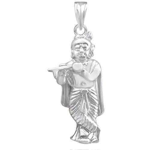 The Marketvilla 925 Sterling Silver Lord Jai Shri Krishna With Flute Locket Bhagwan God Pendant Man & Women Pendent  available at amazon for Rs.365
