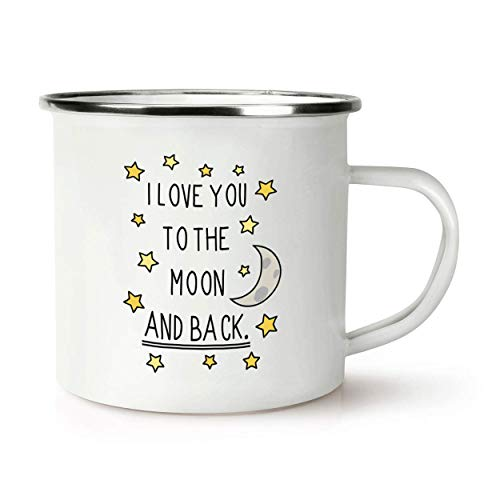I Love You To The Moon And Back Rétro Émail Tasse Mug