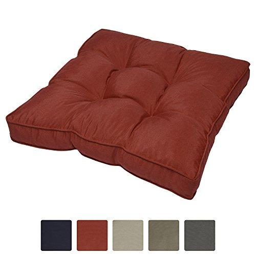 Beautissu Outdoor Loungekissen wasserabweisendes Sitzkissen Rot 50x50x10cm - Polster für Rattan-, & Gartenmöbel