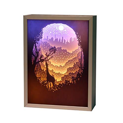 JY YJ Lampes de Table Veilleuses - Lampe de Table de Chambre à Coucher, placage en métal 3D Ombre de lumière découpant de l'artisanat d'art Luminaires Intérieur