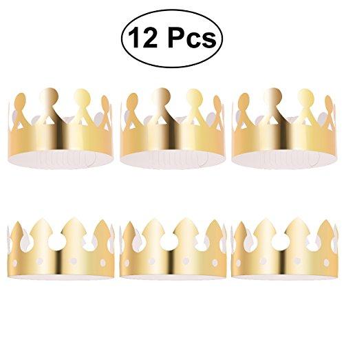 TOYMYTOY 12 Stück Gold Papier Kronen Prinzessin Prinz Kronen Partei Papier Hüte Caps für Kinder Erwachsene