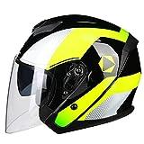 Motorradhelm Männer und Frauen Halb Helm Elektro Auto Helm Universal Doppelobjektiv Sommersaison (Farbe : Gelb, größe : L)
