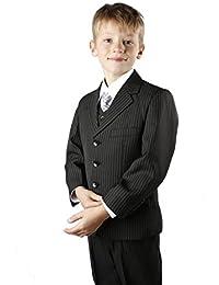 Boys Suit Black Pinstripe Jasper 12y