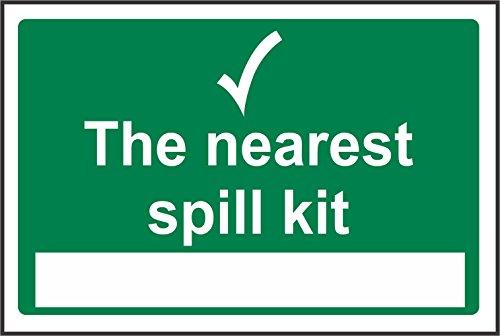 Spill-station Kit (INDIGOS UG - Aufkleber - Sicherheit - Warnung - The nearest spill kit station Safety Zeichen - 200mm x 150mm - Sticker für Büro, Firma, Schule, Hotel, Werkschutz)