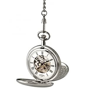 Rotary Chrome Plated Double Hunter Hand Driven Pocket Watch