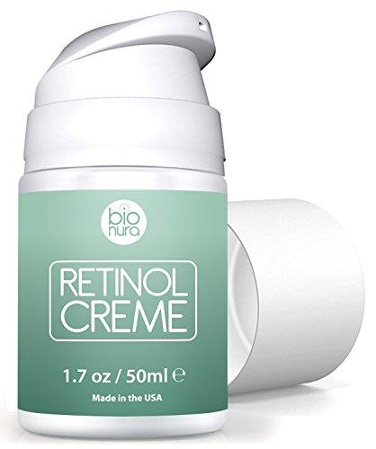 Bionura Retinol Feuchtigkeitscreme Creme mit 2,5% Retinol, 15% Vitamin C & 5% Hyaluronsäure – Der effektivste Natürliche Anti Aging & Anti Falten Retinol Feuchtigkeitsbehandlung ohne die irritierenden Nebenwirkungen. 50 ml - 5