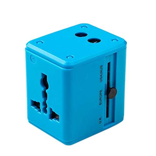 GYLFDC Universal-Reiseadapter, Dual-USB-Umwandlungsstecker, Multifunktions-Reisestecker, Universal-Smart-Plug-Konverter-Steckdose für USA AUS UK Europe,Blue