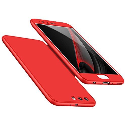 Huawei P10 Plus Hülle, 3 in 1 Ultra Dünner PC Harte Case 360 Grad Ganzkörper Schützend Anti-Kratzer Schutzhülle Vollschutz Hülle für Huawei P10 Plus Fall Premium mattierte Schutzharte Komplettschutz H Rot