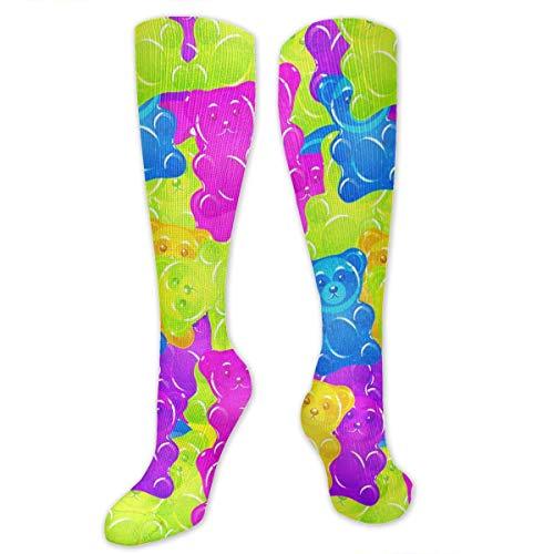 deyhfef Colorful Gummy Bears Candies Knee High Socks Ankle Socks Crew Sock Crew Tube Socks (Outfit Bear Gummy)
