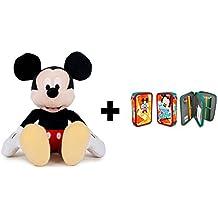 DISNEY: Peluche Mickey Mouse 30 cm sentado y 45 cm de pie. + Estuche-plumier doble MICKEY SELFIE.