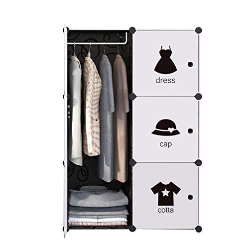 PTDJY Einfache Garderobe Kunststoffschrank Montage Kinder Kleiderschrank Einfache Moderne Schließfach [6 Türen 1 Hängende Tiefe 37 cm] (Color : White) (Breeze White Kleid)