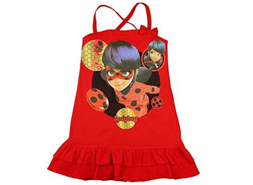 Mädchen Sommer-Kleid Miraculous Lady-Bug und Cat Noire aus Baumwolle, Kollektion 2019 in Rot, Blau GRÖSSE 116, 122, 128, 134, 140, Freizet-Kleid Trägerkleid Farbe Rot, Größe 140 -