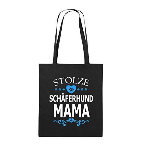 Comedy Bags - Stolze Schäferhund Mama - HERZ - Jutebeutel - lange Henkel - 38x42cm - Farbe: Schwarz / Weiss-Neongrün Schwarz / Weiss-Hellblau