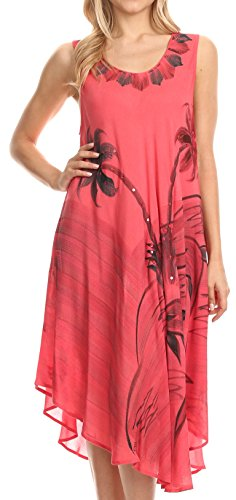 41zzjMfR5gL - Sakkas Valentina Summer Light Cover-up Caftan Dress con stampa tropicale