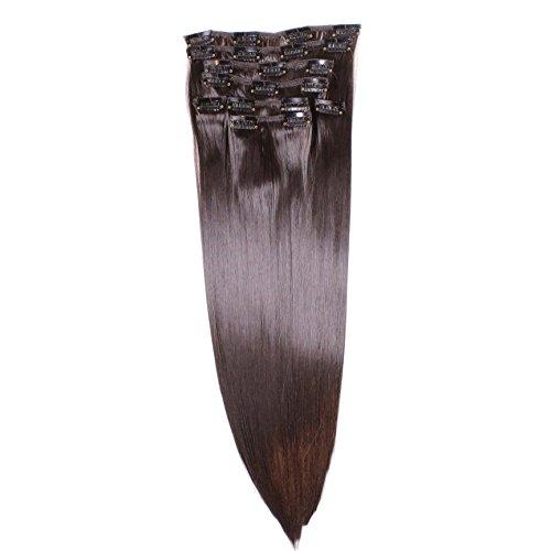Clip In Extensions, 60cm, 8 teilig - #N-2 Dunkelbraun, glatt - 130g Haarteil Optisch wie Echthaar