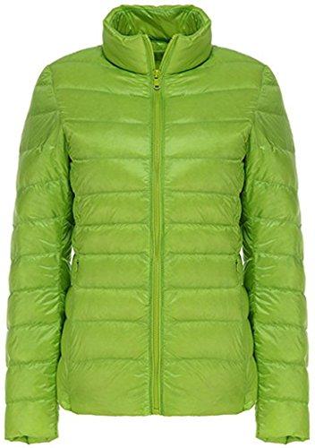 Sawadikaa Giacca da Donna Corto Piumino di Inverno Cappotto Parka Manica Lunga Verde chiaro