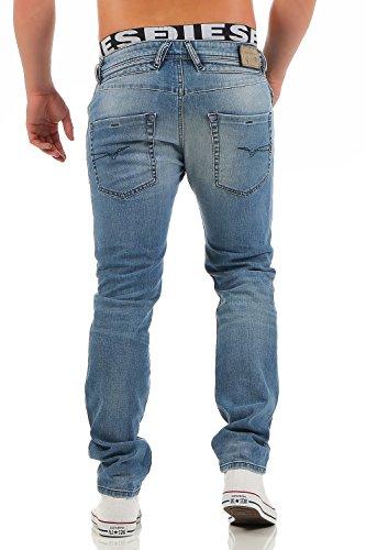 Diesel Jeans Belther, Wash 0842H, Regular Slim-Tapered, Stretch Blau