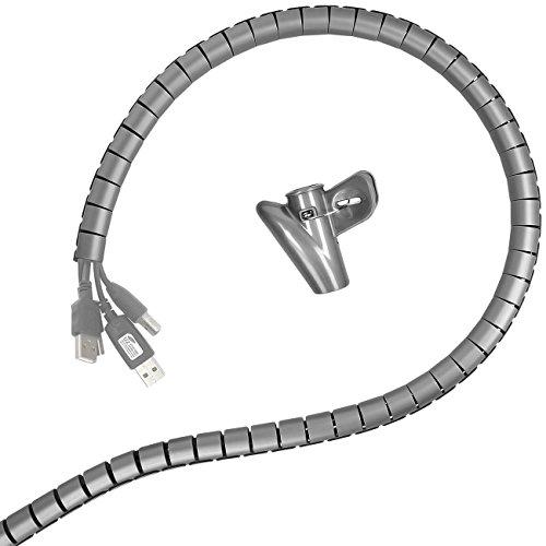 Minadax® 2 Meter, 15mm Ø professioneller HighTech Kabelschlauch Kabelkanal in grau für flexibles Kabelmanagement an Computer und Arbeitsplatz