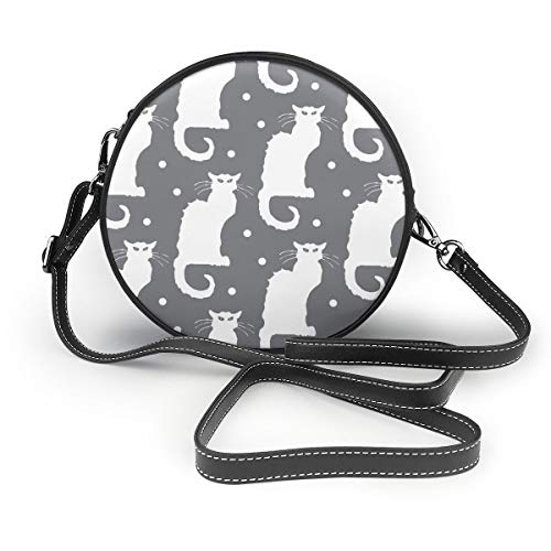 MZZhuBao Handbags For Women,Le Chat Noir White Cat On Dotted Grey PU Leather Shoulder Bags,Tote Satchel Messenger Bags -