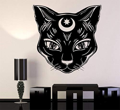 wandaufkleber Schwarze Katze-Mond-Hexe magisches Hexerei-Kunst-Plakat -