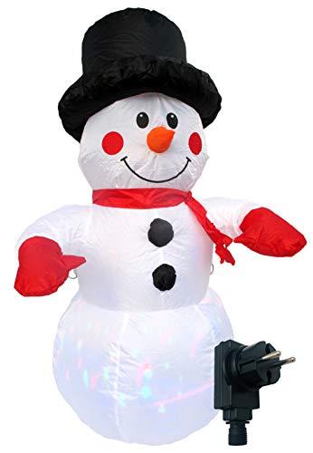 Selbstaufblasender Schneemann mit LED Lichterspiel, 120 cm, inkl. Spannseilen und Heringen, Deko-Figur mit bunten Lichtern, für Außen und Innen