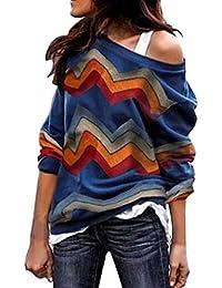 Sudadera para Mujer,Moda Manga Larga Casual Fuera del Hombro Sudaderas Cortos Cuello Redondo Jersey Mujer Otoño Primavera Blusa Tops Tumblr Suéter Mujer Abrigo Deportiva vpass
