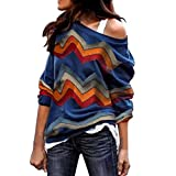 AMUSTER Damen Pulli Pullover Elegant Tops Mode Frauen Langarm geometrischem Print Bluse Sweatshirt Pullover Casual Tops