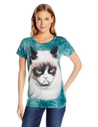 The Mountain Grumpy Cat Katze Damen T Shirt Blau