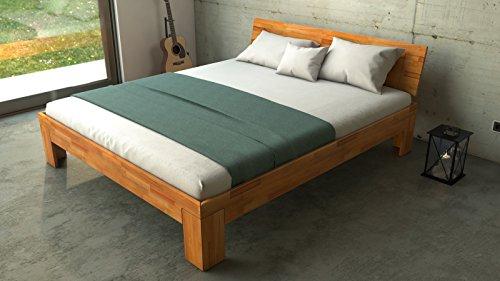 SAM® Design Schlafzimmer-Bett, Jugend-Bett, Holz-Bett, Ehe-Bett massiv Kern-Buche-Holz Natur, geölt, geschlossenes Kopfteil, natürliche, widerstandsfähige Oberfläche 180 x 200 cm [520964]