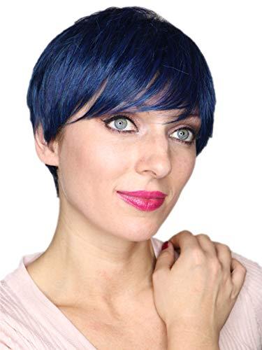 Prettyland Blau Schwarz Strähnen Kurz-Haar Perücke Unisex Damen & Herren Stufen-Schnitt Glatt Trendy Pixie Cut Frisur (Kurze Blaue Perücke)