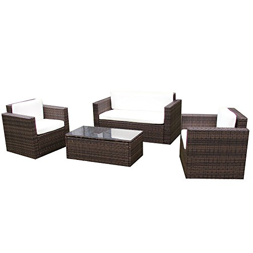 Gartenmöbel Garten Lounge Sitzgruppe Rattan Cannes brown - 6
