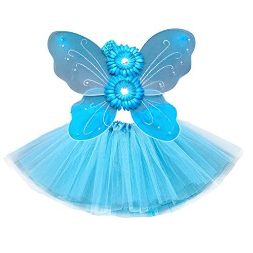 nder Prinzessin Party Schmetterling Kostüm Set Schmetterling Stirnband Schmetterlingsflügel Tutu Rock Fee Kostüm Set (Sky Blue) ()