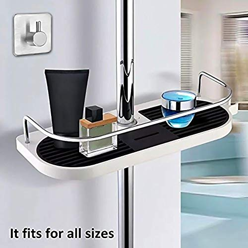Duschablage Dusche Rack Regal zum Hängen aus Hochwertig ABS + Massives Kupfer mit Duschehalter und Haken, ohne Bohren zu installieren, geeignet für alle Durchmesser von 19 bis 25mm