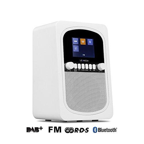 DAB / DAB + Radio / FM con Bluetooth e orologio / Snooze / allarme Radio portatile (raso bianco)