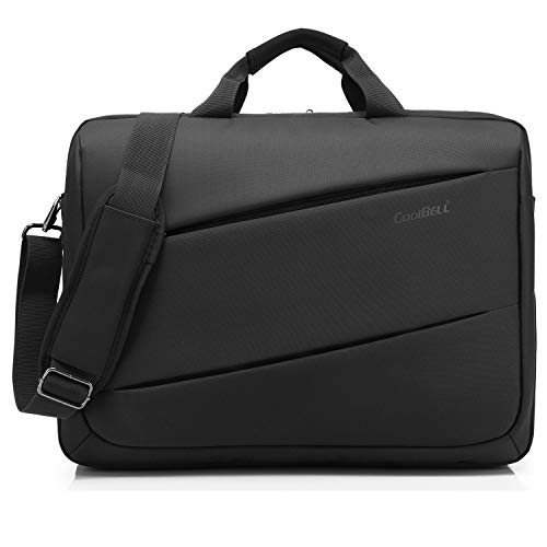 CoolBell 17,3 Zoll Laptop Tasche Messenger Bag Umhängetasche Multifunktional Kuriertasche Arbeitstasche Herren Aktentasche Businesstasche Notebook Schultertasche Leicht Handtasche,Schwarz